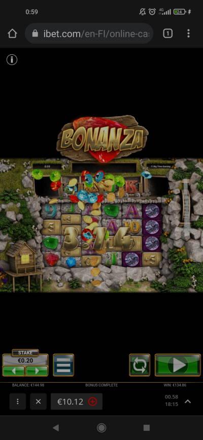 Bonanza Casino win picture by rigsoni 7.9.2021 134.86e 674X ibet
