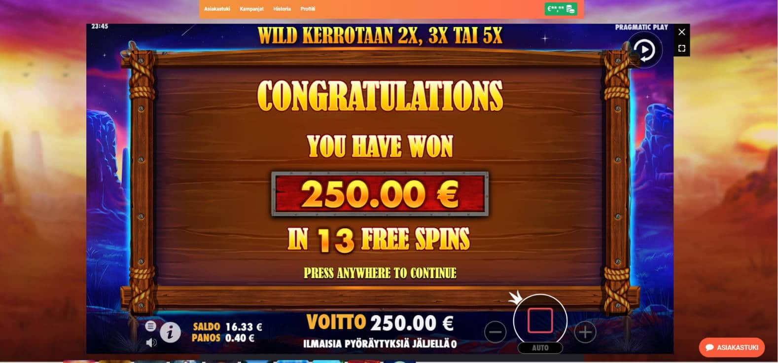Buffalo King Casino win picture by Henkka 30.8.2021 250e 625X LeoVegas