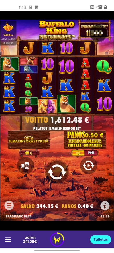 Buffalo King Megaways Casino win picture by terskanaattori 3.9.2021 1612.48e 4031X Wildz