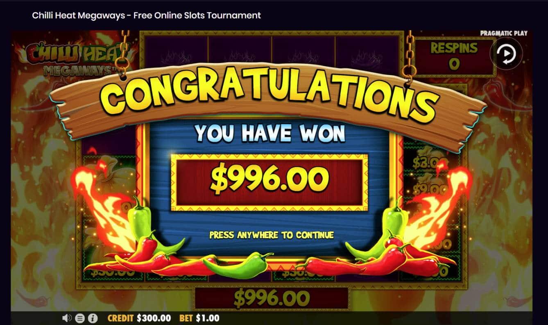 Chilli Heat Megaways Casino win picture by Banhamm 27.8.2021 996e 996X