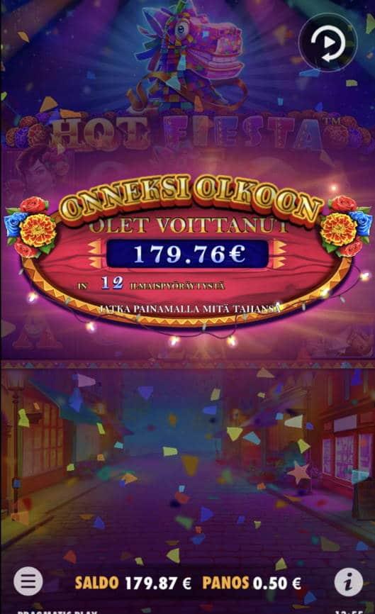 Hot Fiesta Casino win picture by Sonefinland 31.8.2021 179.76e 360X