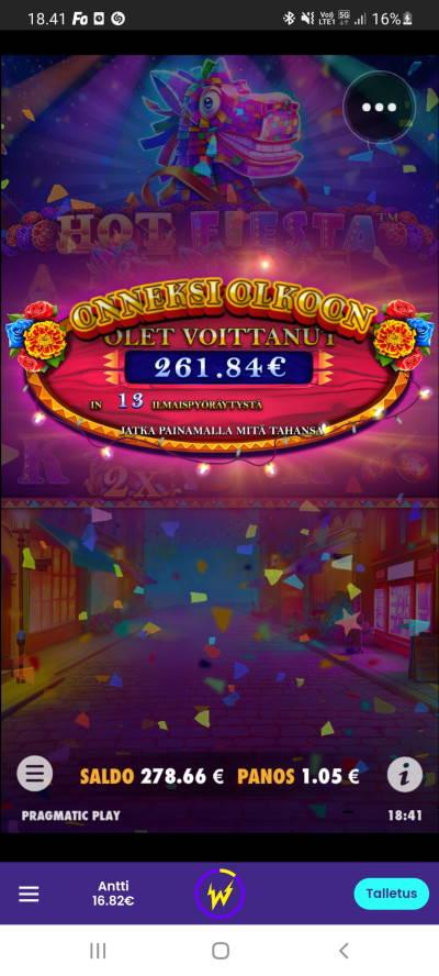 Hot Fiesta Casino win picture by dj_niemi 3.9.2021 261.84e 249X Wildz