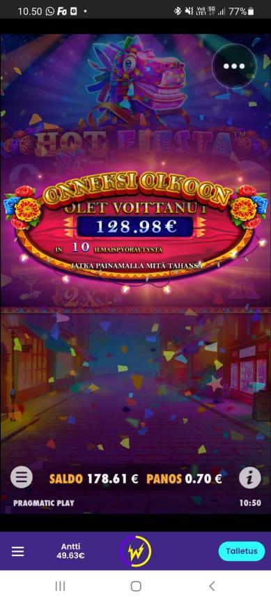 Hot Fiesta Casino win picture by dj_niemi 4.9.2021 128.98e 184X Wildz
