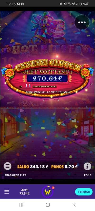 Hot Fiesta Casino win picture by dj_niemi 7.9.2021 270.64e 387X Wildz