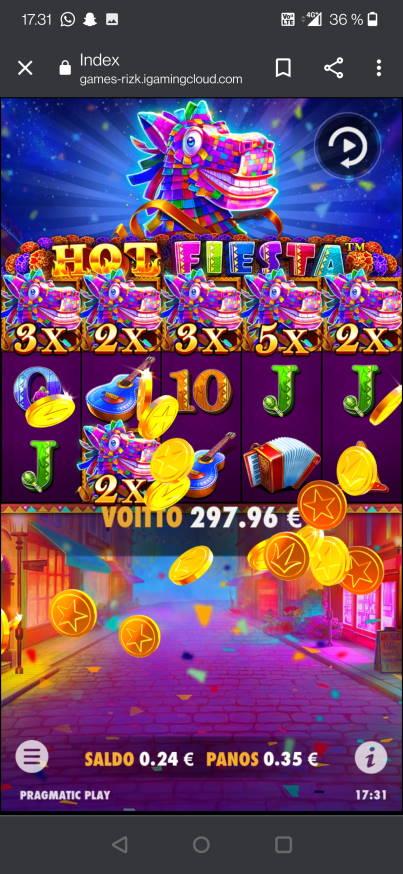 Hot Fiesta Casino win picture by jelemeri 22.8.2021 297.96e 851X Rizk