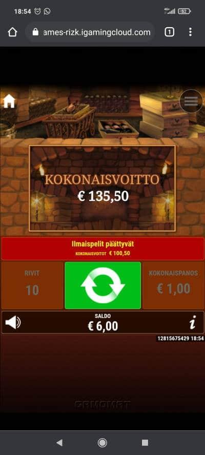 La Dolce Vita Casino win picture by Temssii 23.8.2021 135.50e 136X Rizk