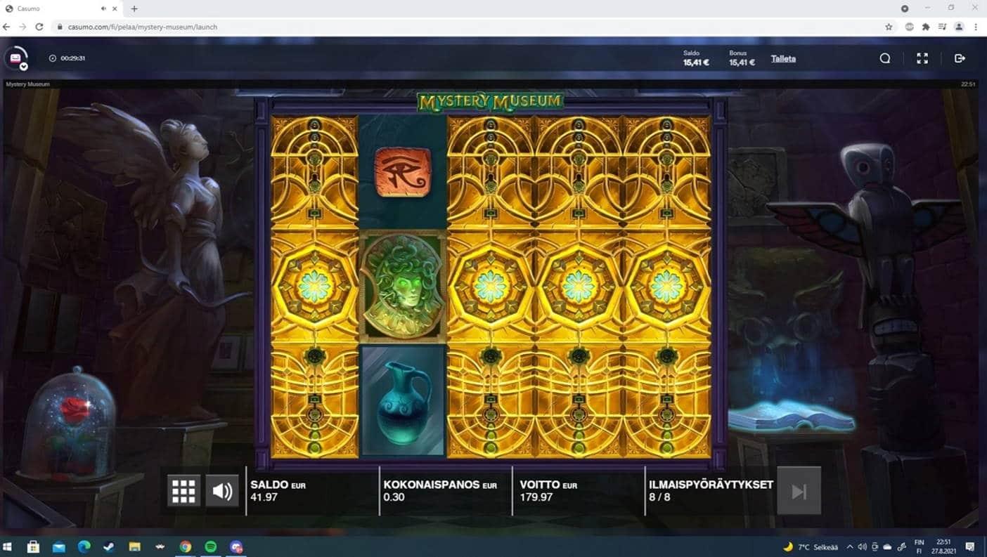 Mystery Museum Casino win picture by Tomezu 27.8.2021 179.97e 600X Casumo