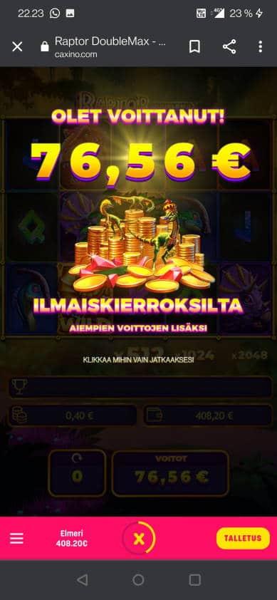 Raptor DoubleMax Casino win picture by jelemeri 29.8.2021 76.56e 191X Caxino