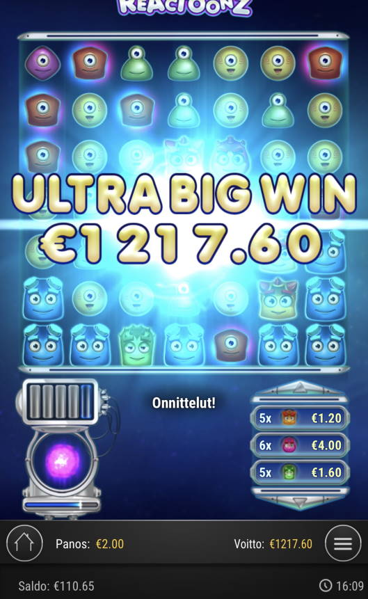 Reactoonz Casino win picture by Sonefinland 26.8.2021 1217.60e 609X