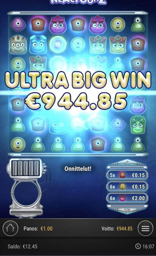 Reactoonz Casino win picture by Sonefinland 27.8.2021 944.85e 945X
