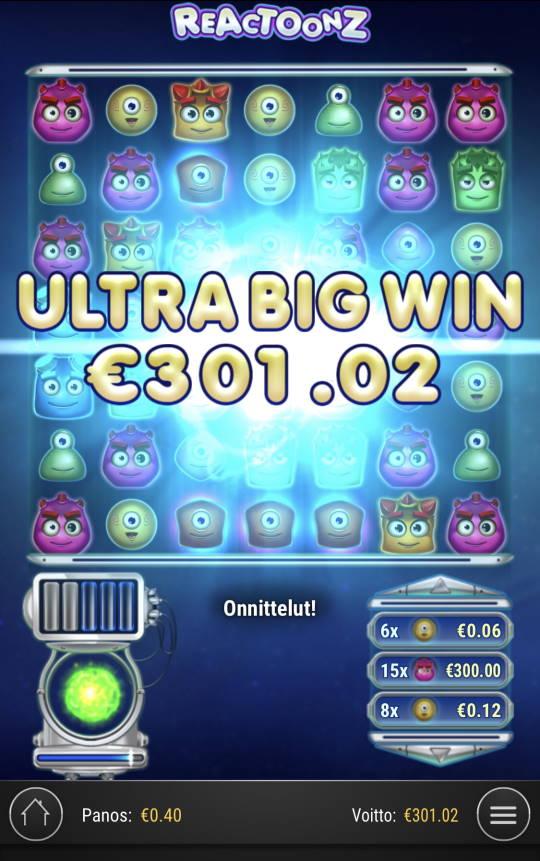 Reactoonz Casino win picture by Sonefinland 30.8.2021 301.02e 753X