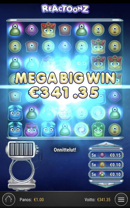 Reactoonz Casino win picture by Sonefinland 30.8.2021 341.35e 341X
