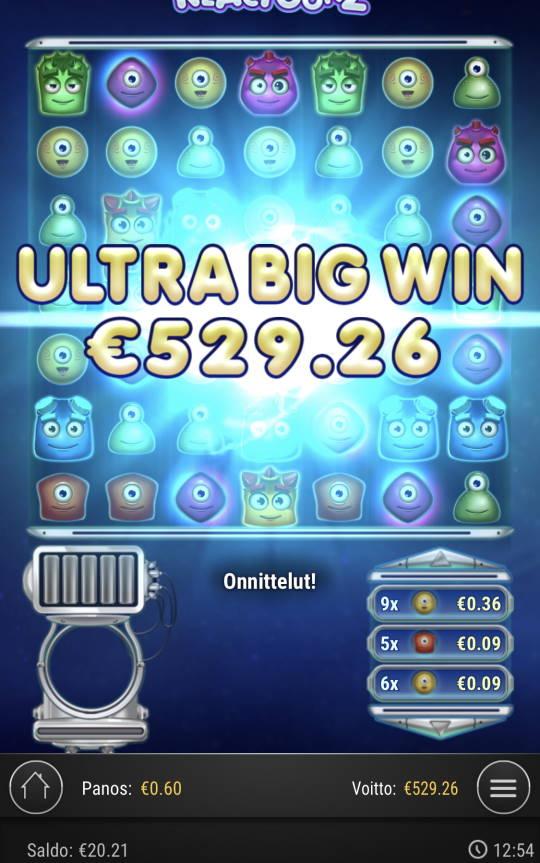 Reactoonz Casino win picture by Sonefinland 31.8.2021 529.26e 882X