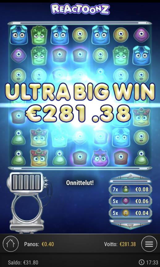 Reactoonz Casino win picture by Sonefinland 4.9.2021 281.38e 703X