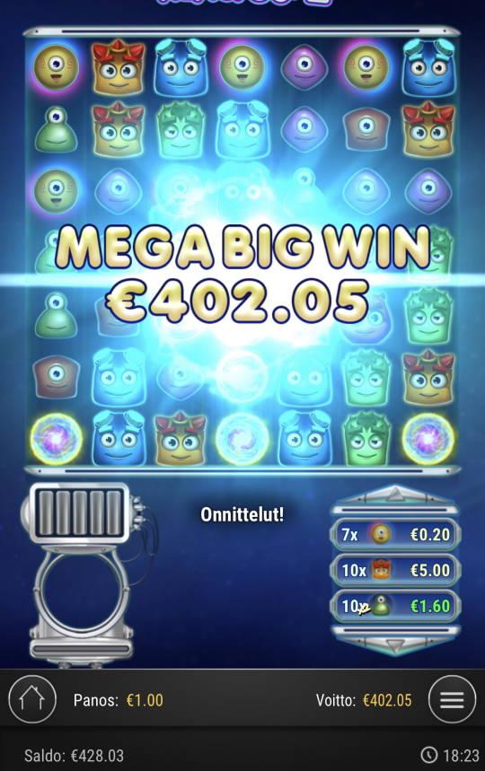 Reactoonz Casino win picture by Sonefinland 4.9.2021 402.05e 402X