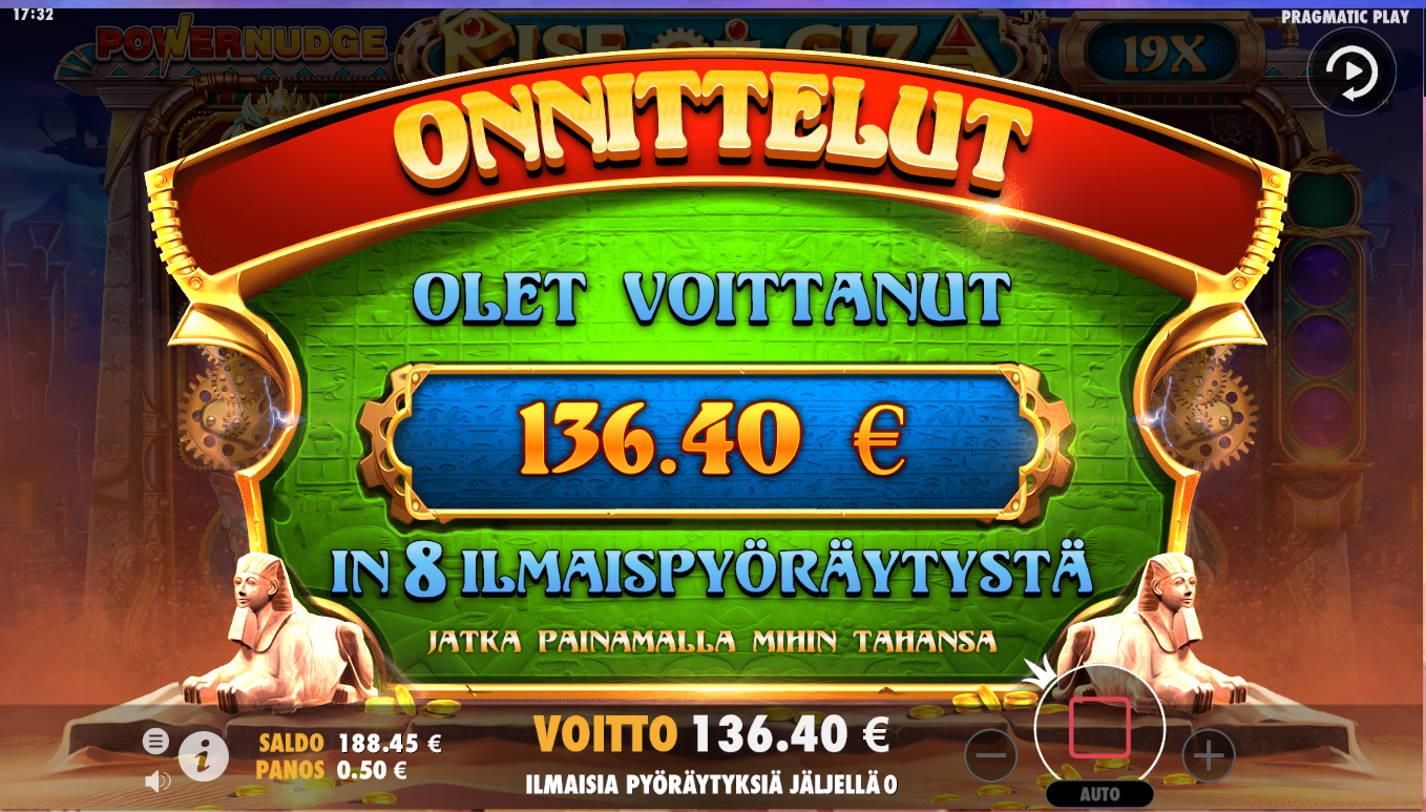 Rise of Giza Casino win picture by Kari Grandi 23.8.2021 136.40e 273X