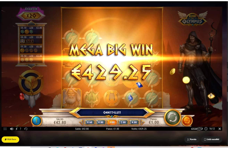 Rise of Olympus Casino win picture by kalmakoura666 21.8.2021 428.25e 429X Rizk