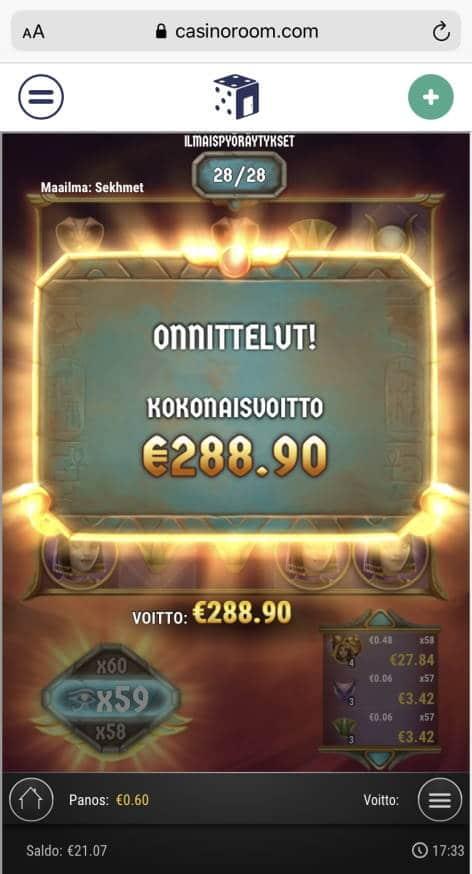 Sisters of the Sun Casino win picture by Julluh 5.9.2021 288.90e 482X Casino Room