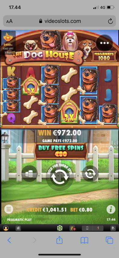 The Dog House Megaways Casino win picture by leif991 6.9.2021 972e 1215X Videoslots