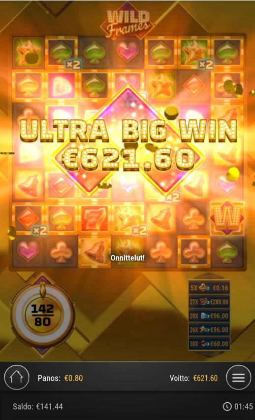 Wild Frames Casino win picture by Kasperi001 30.8.2021 621.60e 777X