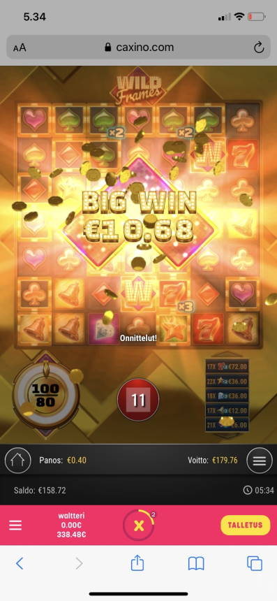 Wild Frames Casino win picture by wapexi 28.8.2021 179.76e 449X Caxino