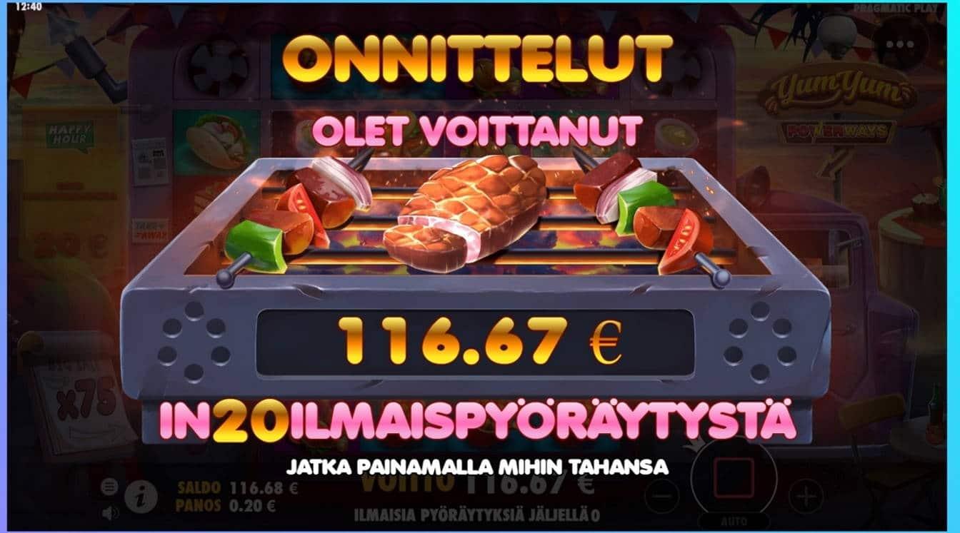 Yum Yum Casino win picture by dj_niemi 3.9.2021 116.67e 583X